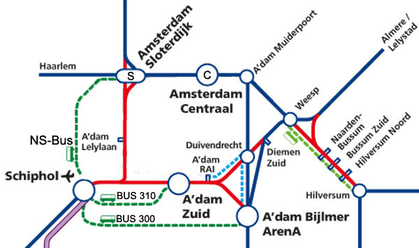 Train alternatives for Schiphol Airport