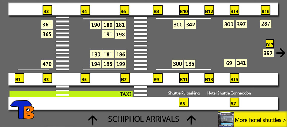 Buses and trains at Amsterdam Schiphol Airport